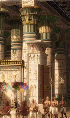 Representación ideal del interior de un templo egipcio. Publicado por. @akropolisblog