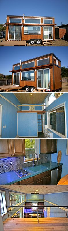 The Surf Shack is a custom 24' tiny house built by Molecule Tiny Homes for a surfer. The large windows and sliding glass doors along on the front of the tiny house provide an incredible view of the ocean.