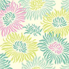 Graphic Mums in Turquoise PWHB023  Heather Bailey by MoonaFabrics