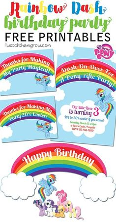 FREE My Little Pony Rainbow Dash birthday party printables! Invitation, thank you cards/ favor tags and cake toppers or party signs! My Little Pony Party, My Little Pony Rainbow, Fiesta Little Pony, Rainbow Dash Party, Rainbow Dash Birthday, 5th Birthday, Birthday Ideas, Birthday Parties, Birthday Stuff