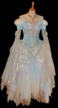 "Ice Princess costume-The skirt of tiered layers of tulle and iridescent organza was sharply cut into erratic points to add movement and imply ""iciness""."