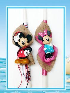 Λαμπάδες Mickey-Minnie  Comic Stars Palm Sunday, Cupcake, Comic, Easter, Candles, Christmas Ornaments, Stars, Holiday Decor, Diy