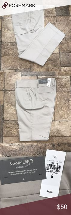 Ann Taylor Khaki Signature Fit Straight Leg Pants NWT gorgeous Ann Taylor Signature Fit Straight Leg Trousers. Size 8. Approx 32 inch inseam. These are a wardrobe must have. Relaxed fit through the hip and thigh. Sits below the natural waist. Front zip and button closure. Purchased both the 8 and 10 in hopes of losing weight but the opposite has happened. Selling the same pants in navy-- bundle and save! Never even tried on! From pet and smoke free home. Ann Taylor Pants Trousers