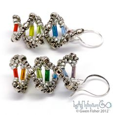 Rainbow DNA Beaded Earrings Sterling Silver Ear Wires. $46.00, via Etsy. I think I know somebody who needs this...