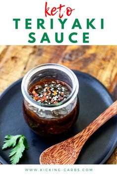 You are going to fall in love with this easy to make KetoTeriyaki Sauce. With all the flavors of the original , this is the perfect option for your keto diet. Made with coconut aminos, this soy free and sugar free recipe is a fabulous marinade and the perfect simple recipe for stir fry. #ketoteriyaki #sugarfreeteriyaki