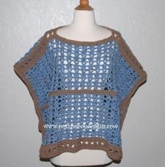 This Sand and Sea Crochet Poncho may very well be unlike any poncho you have ever seen. The unique crochet pattern makes a rectangular poncho, instead of a pointed or round poncho. You can wear this versatile design a variety of ways. Crochet Poncho Patterns, Crochet Tunic, Crochet Clothes, Crochet Tops, Crochet Vests, Crochet Style, Crochet Edgings, Scarf Patterns, Crochet Sweaters