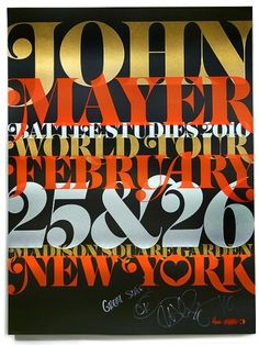 john mayer / poster / overlapping typography