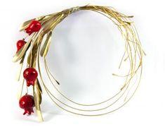 Olive Wreath, Christmas Diy, Christmas Ornaments, Lucky Charm, Felt Flowers, Clay Art, Pomegranate, Ceramic Art, Handicraft