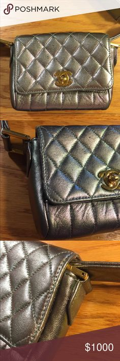 Authentic Vintage Chanel Micro Mini Flap Silver with slight purple sheen. Preowned and authentic  Priced to sell. Photos of the bag show all the wear. I'm cleaning out my closet. Micro bags are trending right now. You can fit an iPhone 6-8 in the bag. It's currently a shoulder bag but can be converted to Kelly style handbag CHANEL Bags