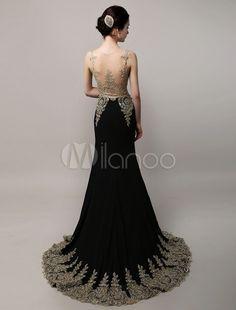 Deslumbrante preto casamento vestido vestido de noite Applique dourado do Chiffon sereia ilusão corpete tribunal trem