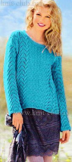 Вязаный женский свитер с ажурными узорами