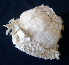 Maria Niforos - Fine Antique Lace, Linens & Textiles : Antique Christening Gowns & Children's Items # CI-118 Frothy Fine Knit Christening Bonnet w/ Ribbon Rosettes