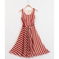 Trendy Style Scoop Collar Sleeveless Striped Lace-Up Women's Sundress #dresslily dresslily.com