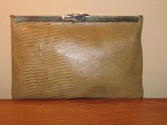 Vintage ETRA Brown LEATHER Purse CLUTCH // 60's by TheGirlSaidYes, $12.00