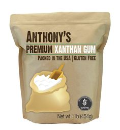 Image of a small brown package from Anthony's Goods containing Premium Xanthan Gum