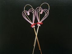 Mizuhiki Japanese  Paper Cord Decoration Pink Gold Hearts. $5, by FromJapanWithLove on etsy.
