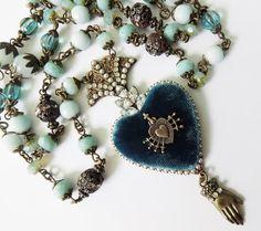 Ex Voto Heart Necklace  Sacred Heart Pendant  by PersephonesBijoux