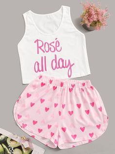 To find out about the Heart & Letter Print Pajama Set at SHEIN, part of our latest Pajama Sets ready to shop online today! Cute Pajama Sets, Cute Pjs, Cute Pajamas, Pajamas Women, Pajama Outfits, Lazy Outfits, Summer Outfits, Casual Outfits, Cute Outfits