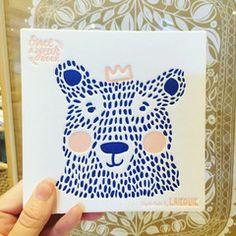 New Bear & Rabbit baby book, cobalt blue & blush, letter press cover