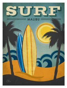 Surf Malibu Renee Pulve New York People Places Vintage Americana Print Poster 24x32 Picture Peddler
