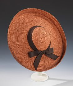 Hat.  Sally Victor (American, 1905–1977).  Date: 1940. Culture: American. Medium: straw, silk. Dimensions: 4 1/2 x 17 1/2 in. (11.4 x 44.5 cm).