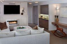 Wohnzimmer Einrichten Neutrale Farben Wandkamin Einbaukuechenzeile