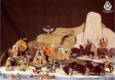 Ostheimer Native American / Indigenous Autumn landscape setup with herd of bison, bears, wolves & ducks | Via