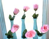 Tiffany Blue Painted Milk Glass Vases But with Pink Carnations inside for Sorority Table at wedding