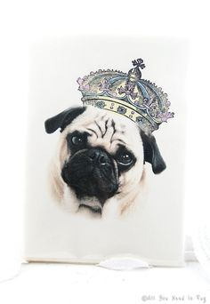 Prince Pug Greeting Card Set  4 Cards and by AllYouNeedIsPugShop