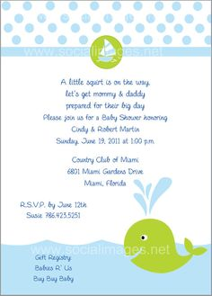 A Lil' Squirt Whales Baby Shower Invite by SocialImagesInc on Etsy