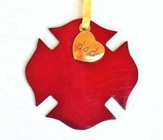 DAD Firefighter Ornament Metallic Metal by CraftedwithloveGifts