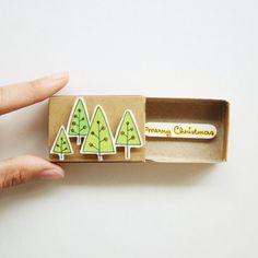 Cute Weihnachtsbaum Karte / Weihnachtskarte Matchbox / Urlaub Karte / Weihnachtsgeschenke / Frohe Weihnachten / CM004