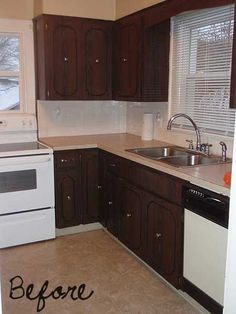 An $89 Kitchen Makeover - this is what our cabinet doors look like...except we still have the ornate old brass pulls.