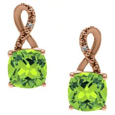 Rose Gold Cushion-Cut Peridot Birthstone Diamond Drop Earrings Jewelry Available Exclusively at Gemologica.com