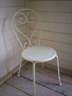 white wood and metal chair