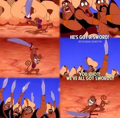 Disney - Aladdin - Abu vs the Guards swords - LOL Disney Girls, Disney Love, Disney Magic, Disney Stuff, Disney And Dreamworks, Disney Pixar, Walt Disney, Disney Memes, Disney Quotes