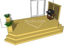 This basic one level deck design features a privacy wall, a cascading staircase, and a bench and planter combination. This x deck is perfect where space is limited. This deck design is easy to construct and is quite affordable. Free Deck Plans, Design Diy, Design Ideas, Deck Building Plans, Laying Decking, Decking Area, Privacy Walls, Deck Builders, Deck Decorating
