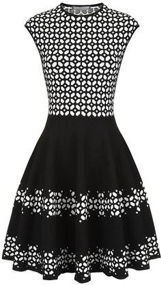 Alexander McQueen Black Laser Cut Jacquard Flared Dress