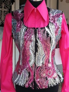 Show Diva Designs one of a kind applique vest with a hot pink plain fitted shirt