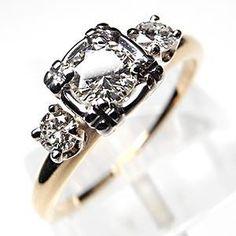 VINTAGE ESTATE DIAMOND ENGAGEMENT RING SOLID 14K