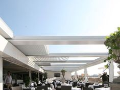 Pergola with adjustable louvers with sliding cover FOLD 200 by STUDIO 66