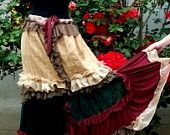 skirt,belly dance, tribal, fusion,noire, dark,layers and frills,czech beads and buttons, roses, layers and frills, performance,lace. $31.00, via Etsy.