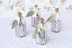 I recently created these striped, mirrored glass bottle favors for Project Wedding. But they would be perfect for holiday party favors or as little holiday gifts for neighbors. The mirrored glass makes them much Rehearsal Dinner Favors, Rehearsal Dinner Decorations, Diy Spring Weddings, Simple Weddings, Diy Wedding Favors, Party Favors, Wedding Gifts, Wedding Ideas, Favour Jars