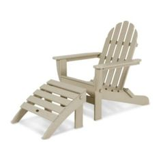 Polywood 2-piece Classic Outdoor Folding Adirondack Chair & Ottoman Set (grey)