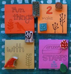 So many fun things you can make with a simple eraser stamp. On Geninne's Art Blog