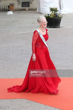Queen Margethe of Denmark attends the royal wedding of Prince Carl Philip of Sweden and Sofia Hellqvist at The Royal Palace on June 13, 2015 in Stockholm, Sweden.