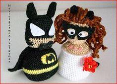 El edén de las mamalidades. Batman y Catwoman wedding topper. Amigurumi.
