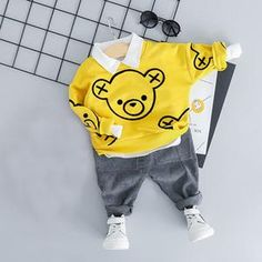 Dress your little boy with this fashionable outfit made with the best cotton and finest polyester and is very breathable to wear. Spring Outfits, Boy Outfits, Fashion Outfits, Spring Clothes, Billy Bear, Traje Casual, Yellow Clothes, Boys And Girls Clothes, Bear Cartoon
