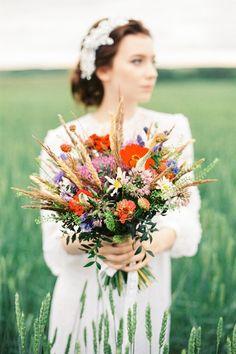 Wildflower and wheat bouquet