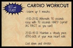Quick and steady cardio workout